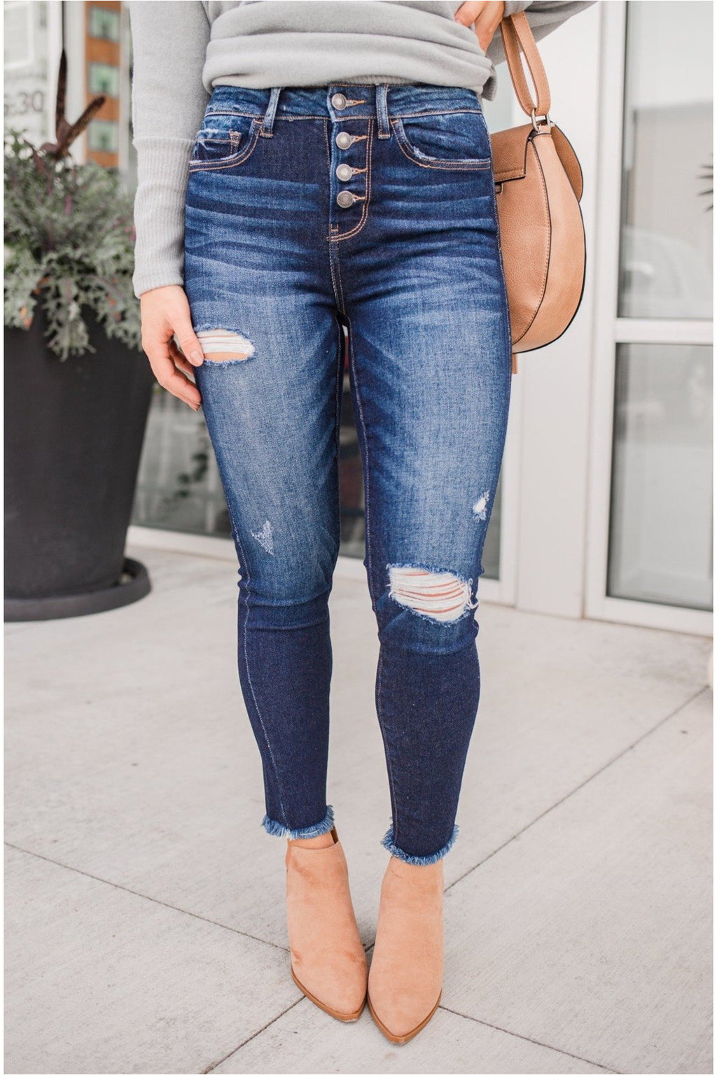 Haylie High Rise Button Up Fray Bottom Skinny Jeans - BluePeppermint Boutique