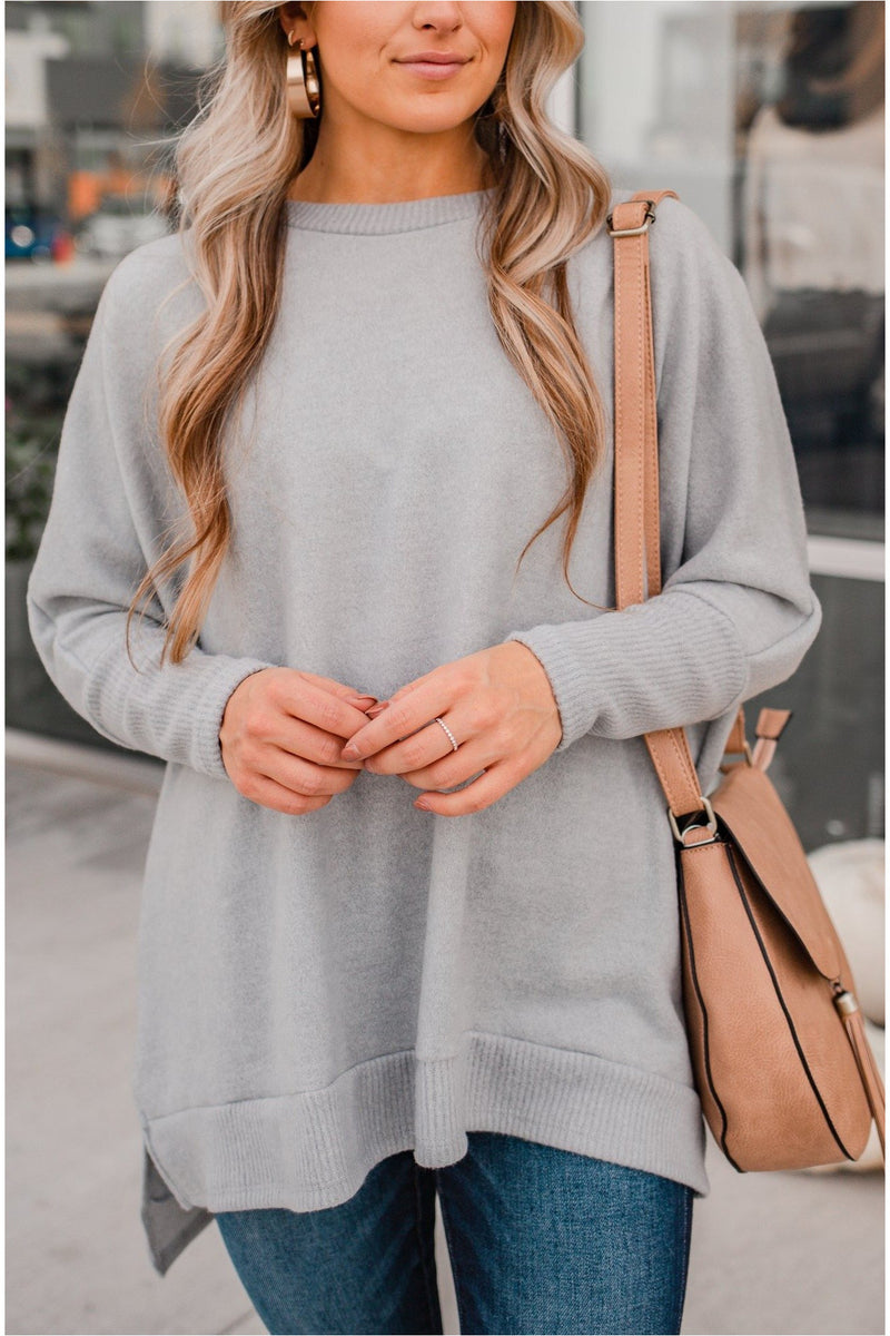 Plush Oversized Dolman Sleeve Top - Grey