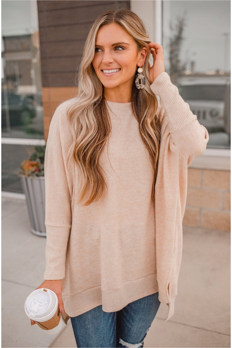 Plush Oversized Dolman Sleeve Top - Oatmeal