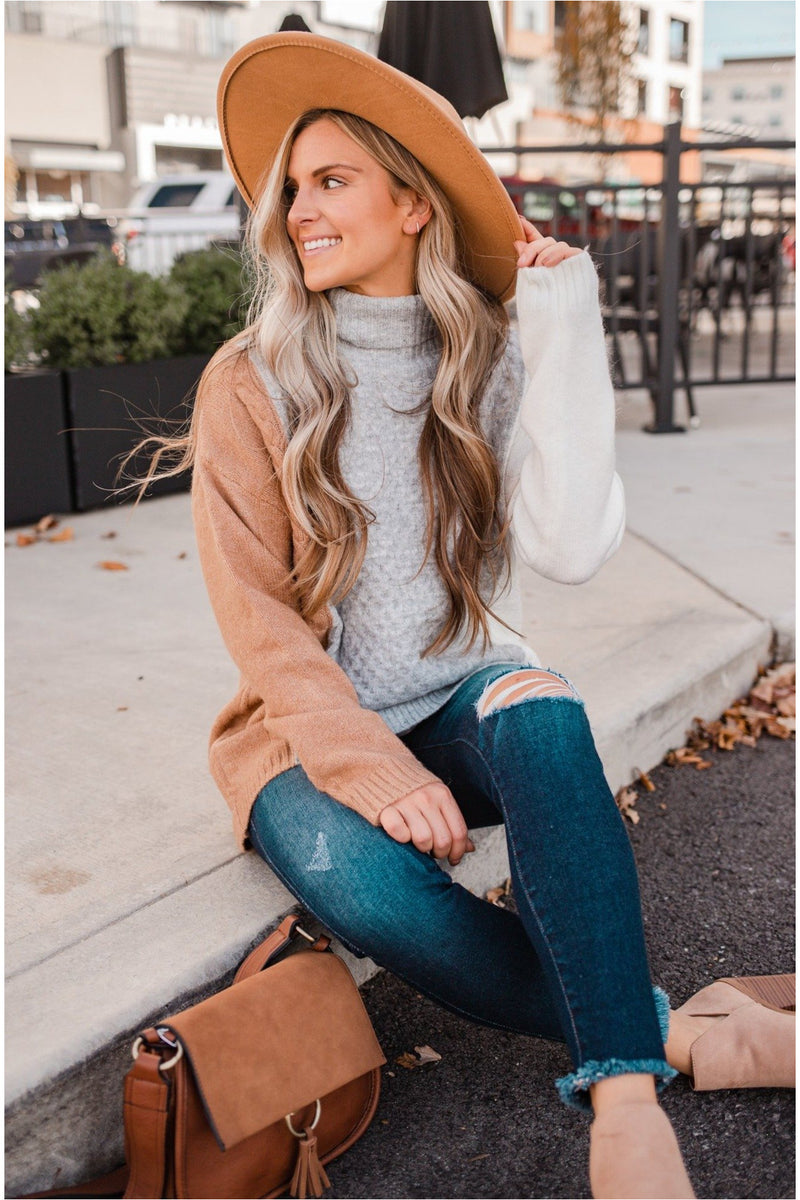 Grey High Neck Cable Knit Sweater - BluePeppermint Boutique