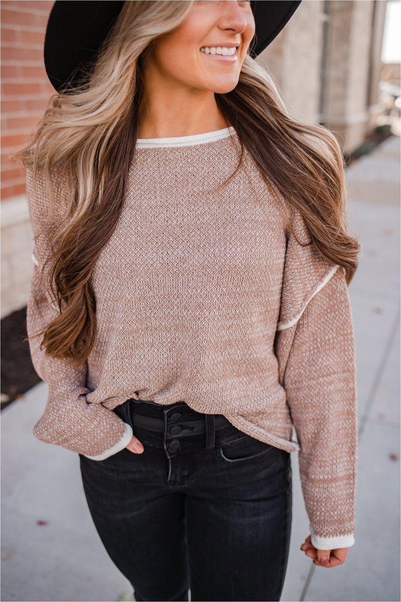 Two Tone Oversized Pullover-Coco - BluePeppermint Boutique
