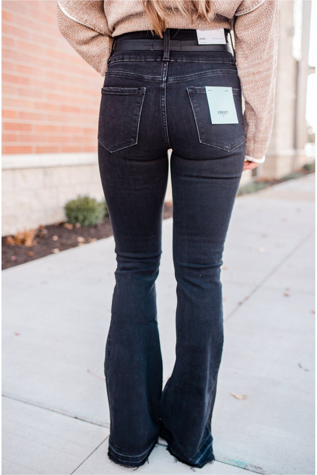 Selena Super High Rise Black Flare Jeans - BluePeppermint Boutique