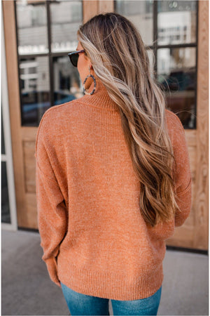 Mock Neck Exposed Seam Sweater - Rust