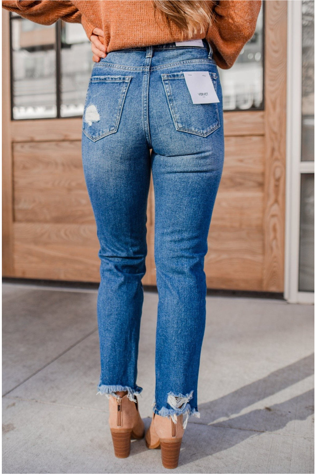 Thalia Super High Rise Distressed Crop Straight Jeans - BluePeppermint Boutique