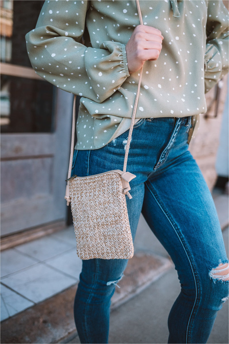 Taupe Woven Rattan Smart Phone Crossbody - BluePeppermint Boutique