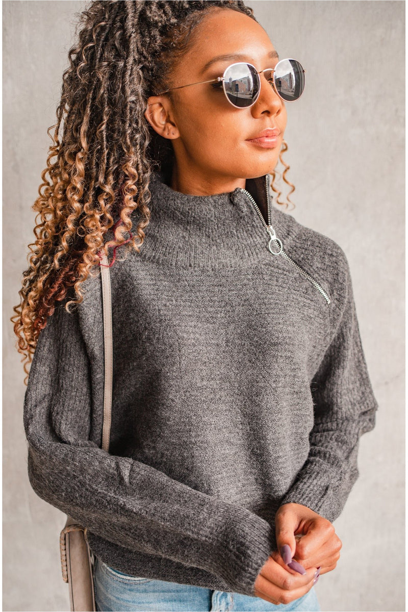 Zippered Neck Knit Sweater - Charcoal - BluePeppermint Boutique