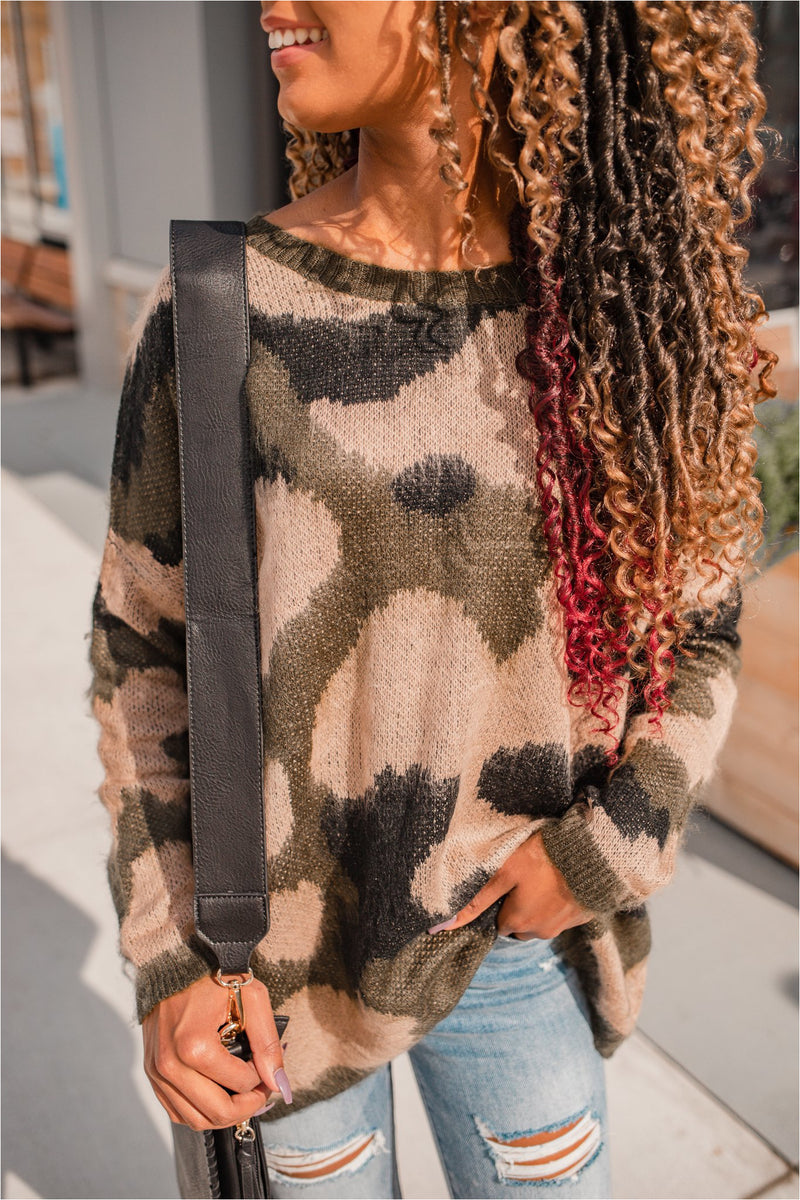 Olive Camo Oversized Pullover - BluePeppermint Boutique