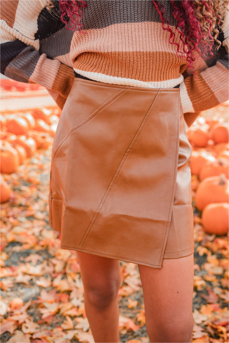 Faux Leather Wrap Skirt - Camel