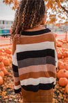 Camel/Black Striped Sweater - BluePeppermint Boutique