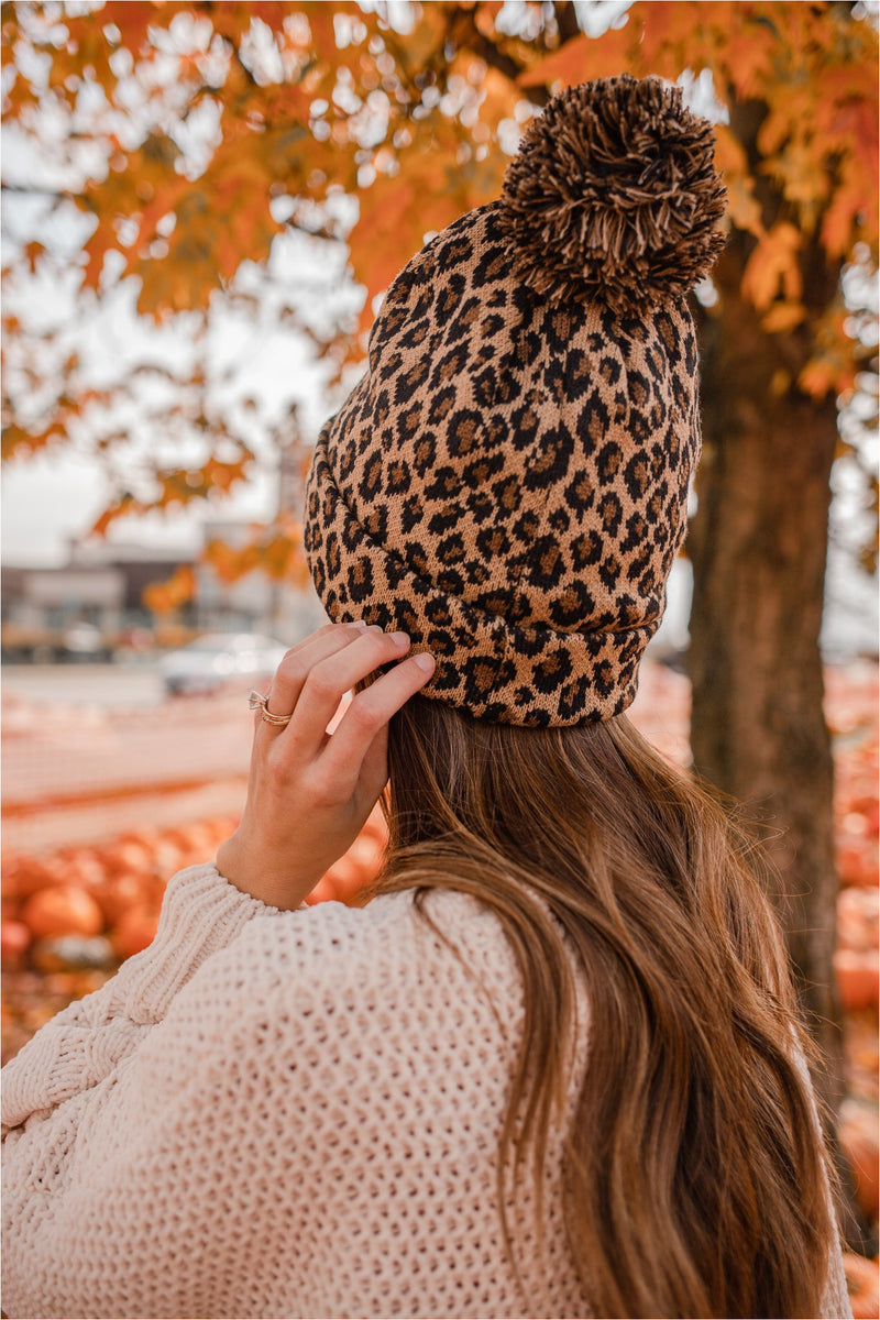 Classic Leopard Pom Beanie - BluePeppermint Boutique