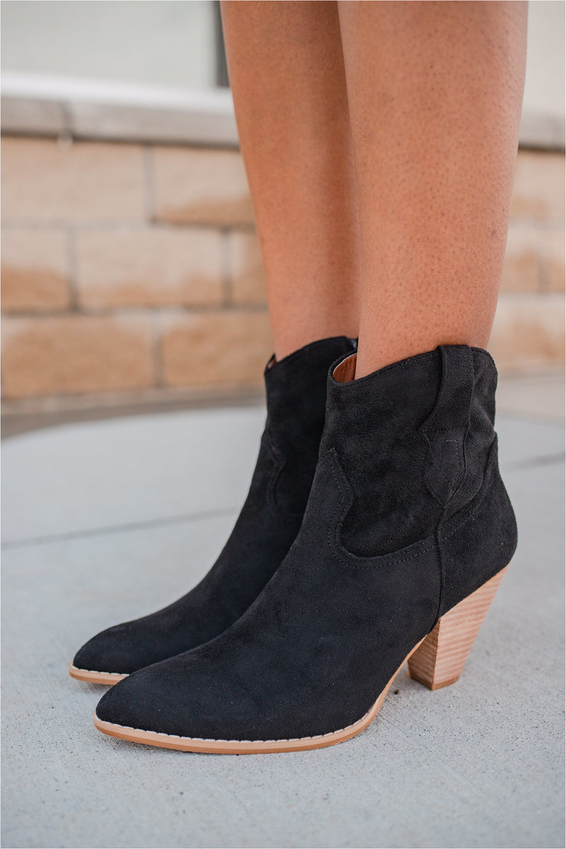 Black Western Suede Ankle Boot - BluePeppermint Boutique
