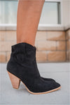 Black Western Suede Ankle Boot - FINAL SALE - BluePeppermint Boutique
