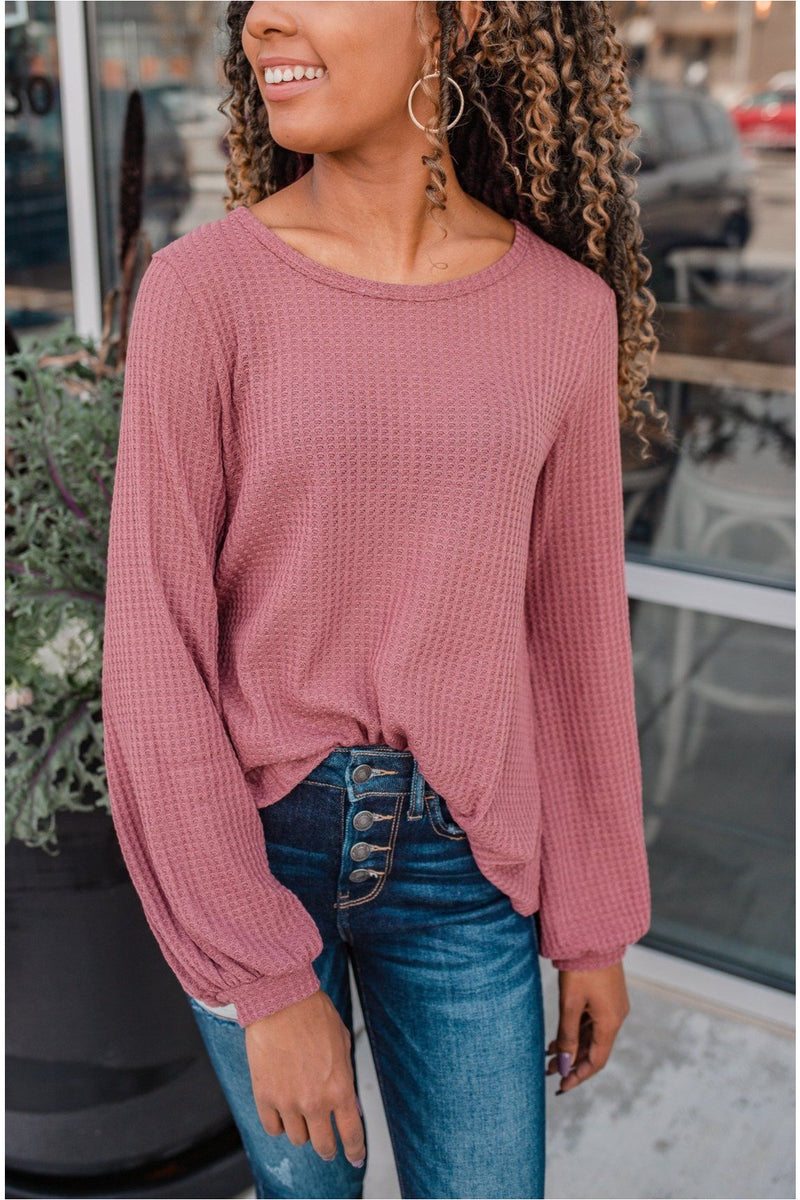 Mauve Thermal Bubble Sleeve Top