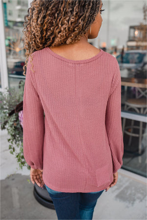 Mauve Thermal Bubble Sleeve Top - BluePeppermint Boutique