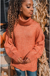 Oversized Knit Turtleneck - Rust - BluePeppermint Boutique