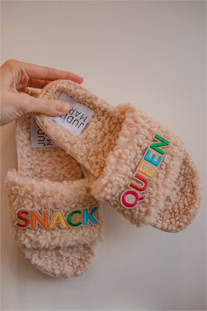 Cream Snack Queen Fuzzy Slides