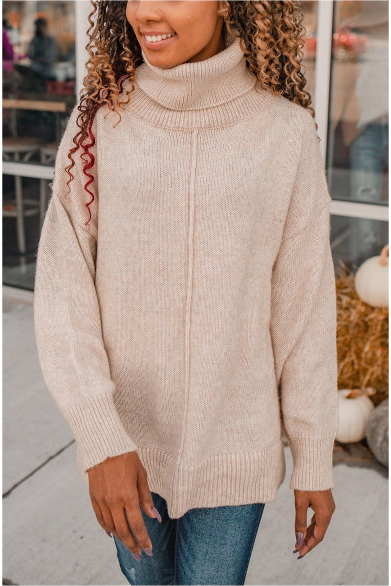 Oversized Knit Turtleneck - Oatmeal - BluePeppermint Boutique