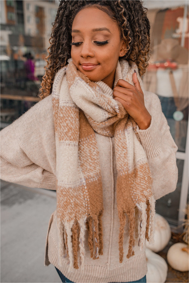 Tan Plaid Tassel Scarf