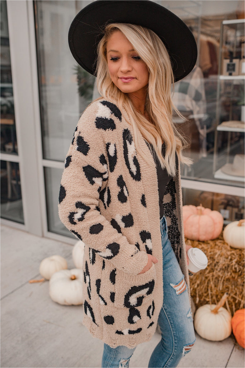 Taupe Plush Leopard Cardigan - BluePeppermint Boutique