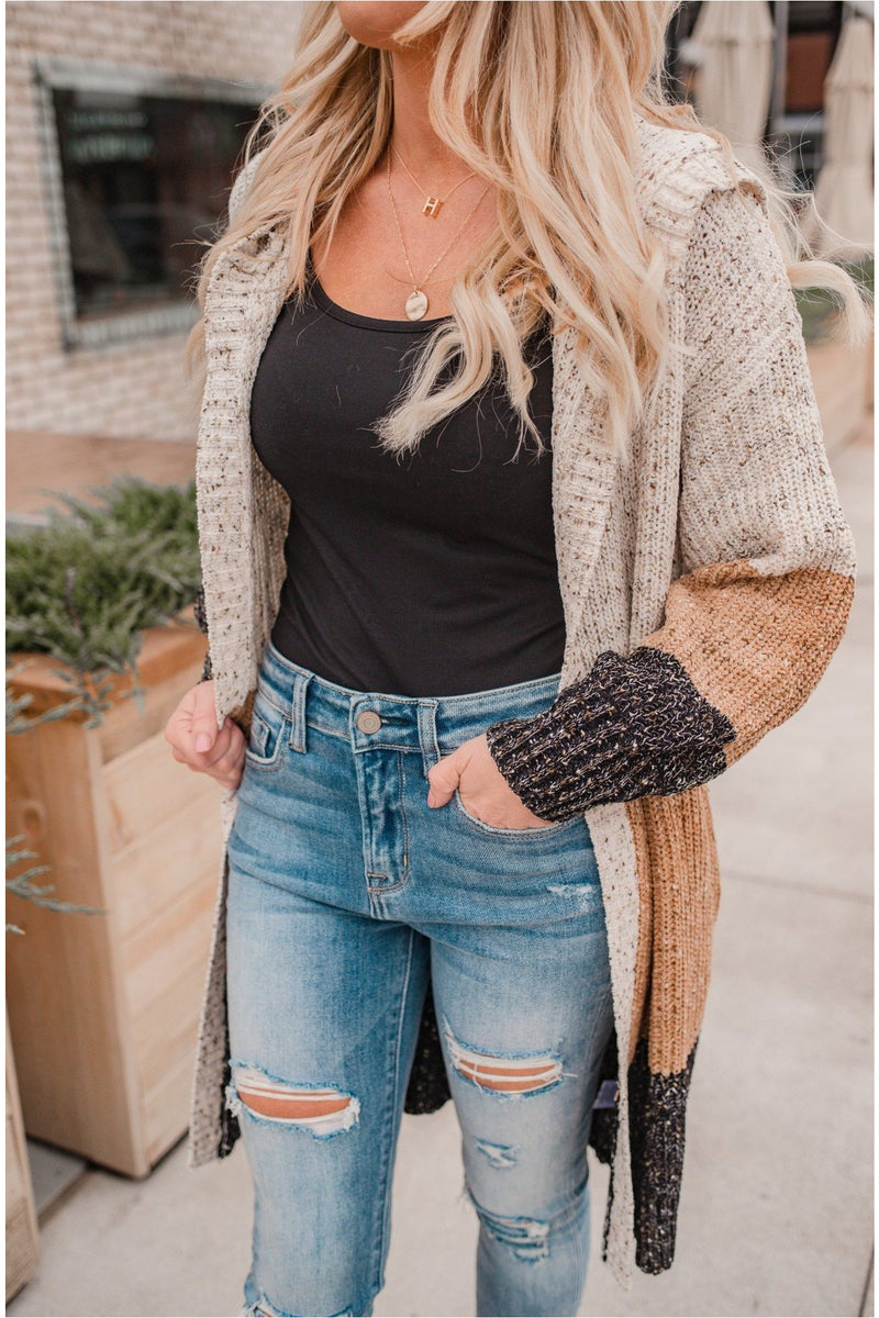 Cream/Black Speckled Color Block Hoodie - BluePeppermint Boutique