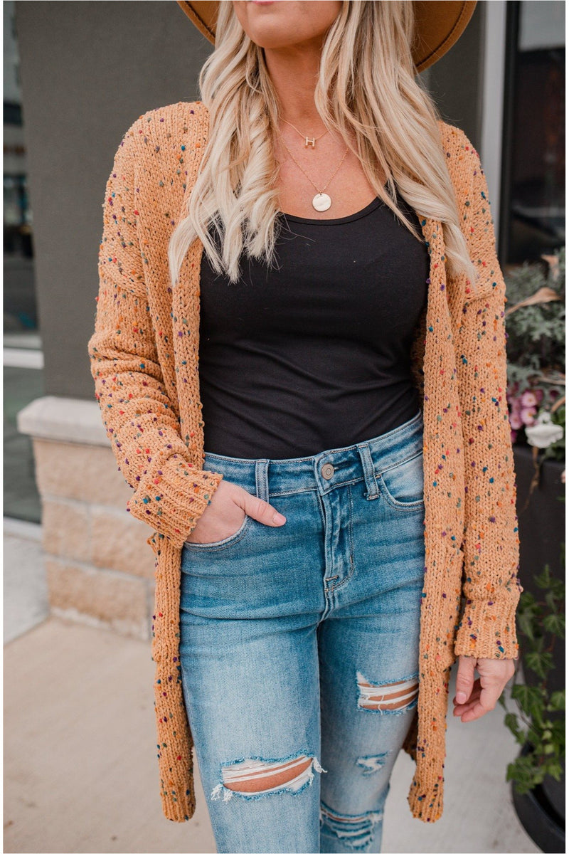 Camel Confetti Cardigan - BluePeppermint Boutique