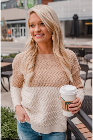 Coco Color Block Cable Knit Pullover - BluePeppermint Boutique