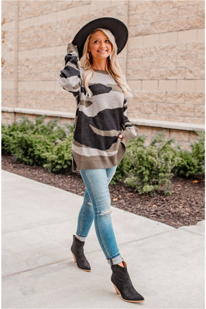 Camo Knit Tunic Sweater - BluePeppermint Boutique