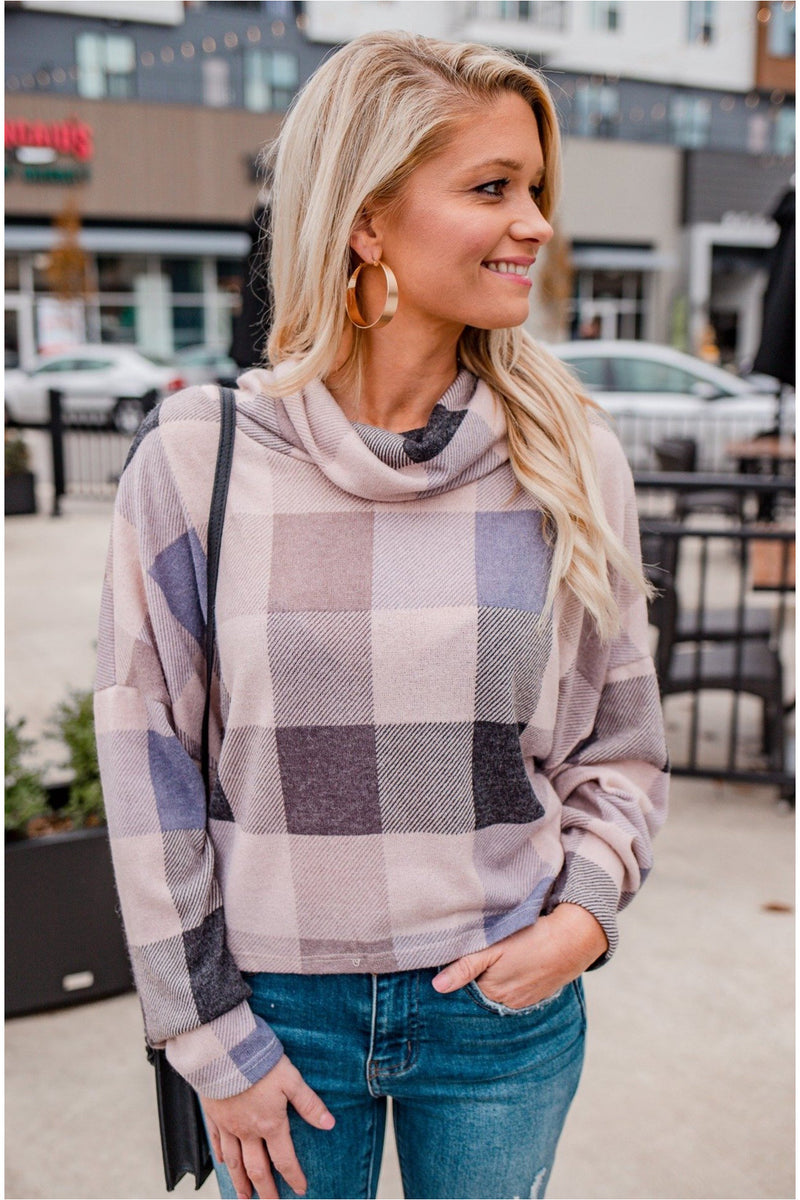 Taupe/Black Buffalo Plaid Cowl Neck Top - BluePeppermint Boutique