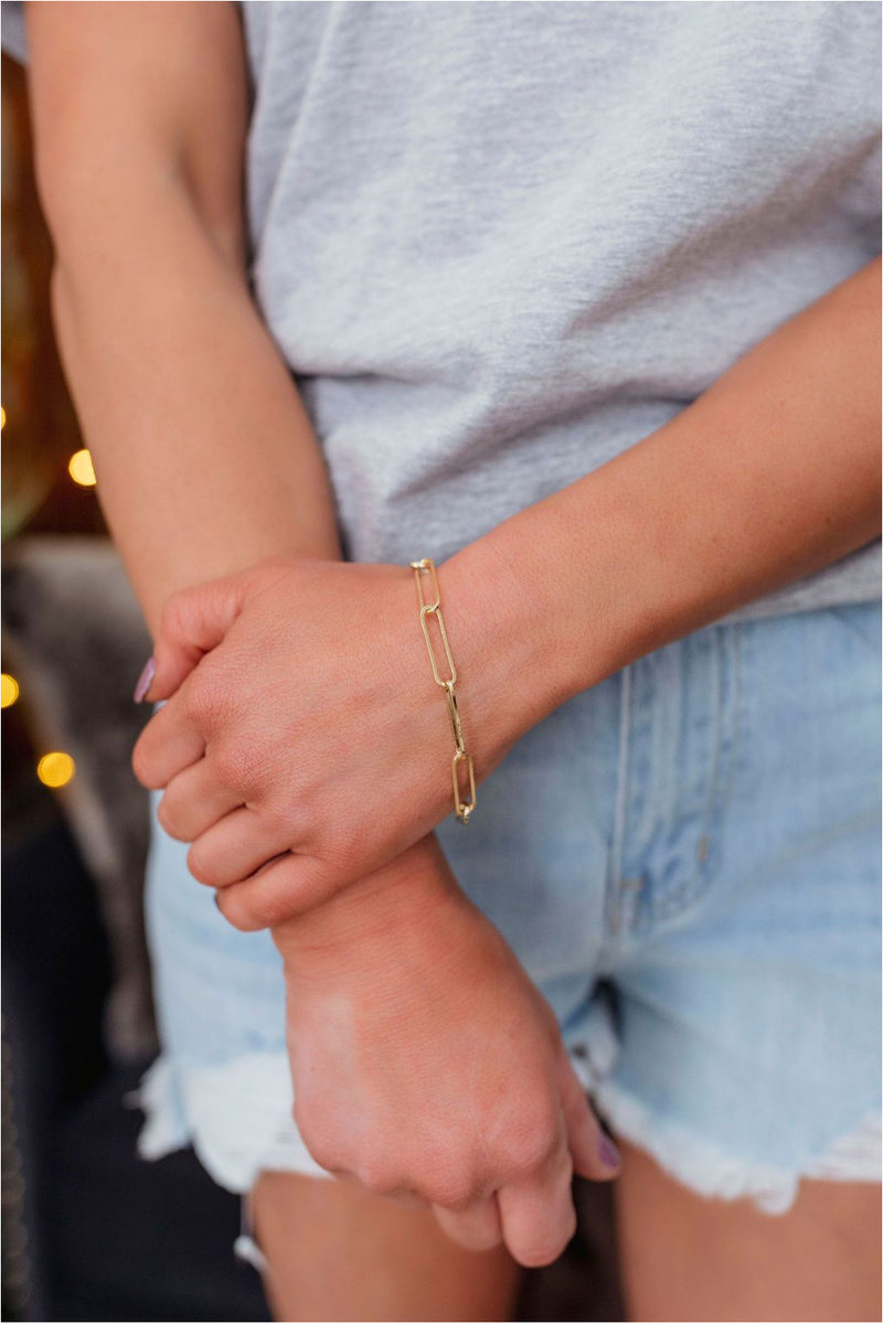 Gold Paperclip Bracelet - BluePeppermint Boutique