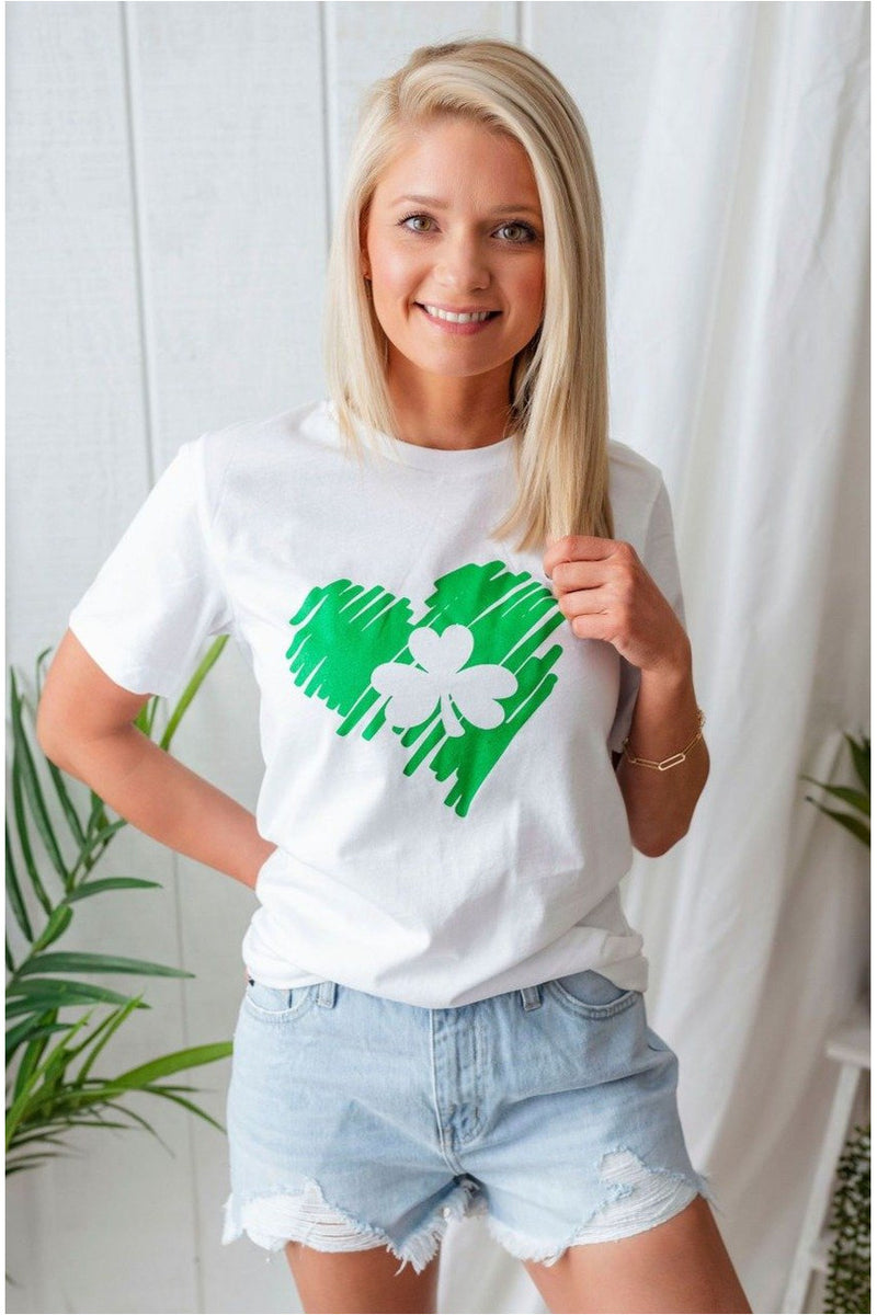 Heart Shamrock Tee-White - BluePeppermint Boutique