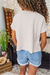 Thermal Crop Tee - Light Mocha - BluePeppermint Boutique