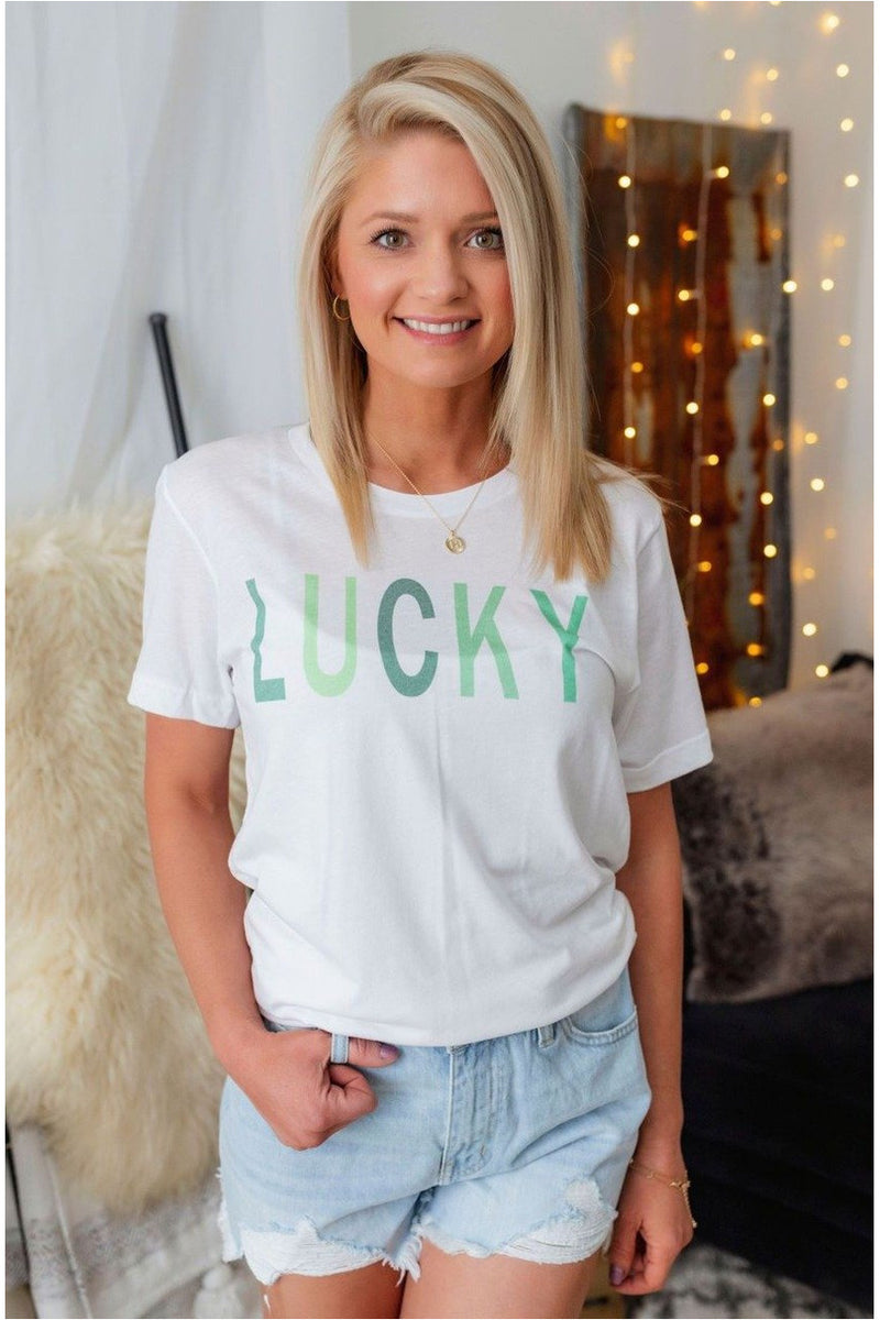 Lucky Tee-White - BluePeppermint Boutique