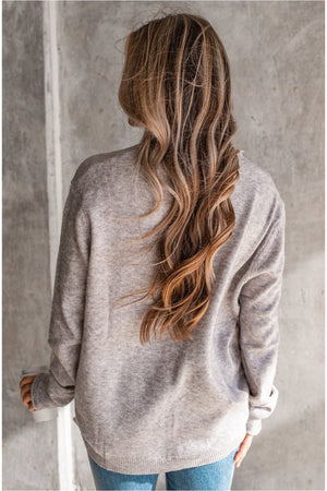 Long Sleeve Star Top - Heather Grey - BluePeppermint Boutique