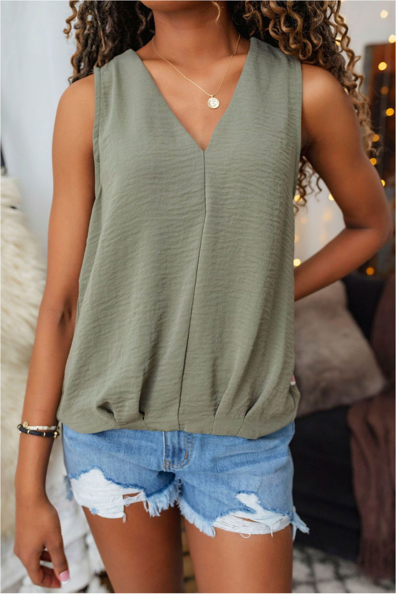 Sleeveless Woven Top-Olive - BluePeppermint Boutique