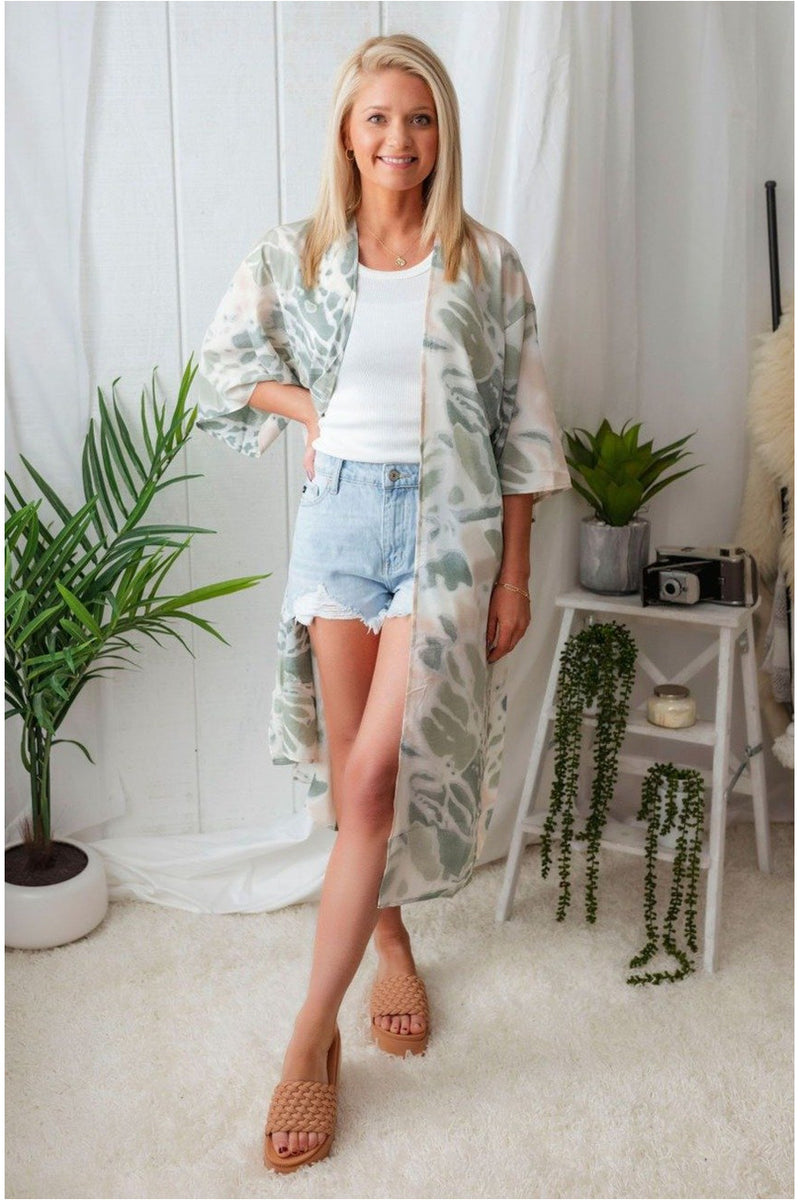 Tie Dye Cover Up-Sage - BluePeppermint Boutique