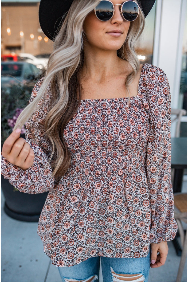 Rust Floral Balloon Sleeve Blouse - BluePeppermint Boutique