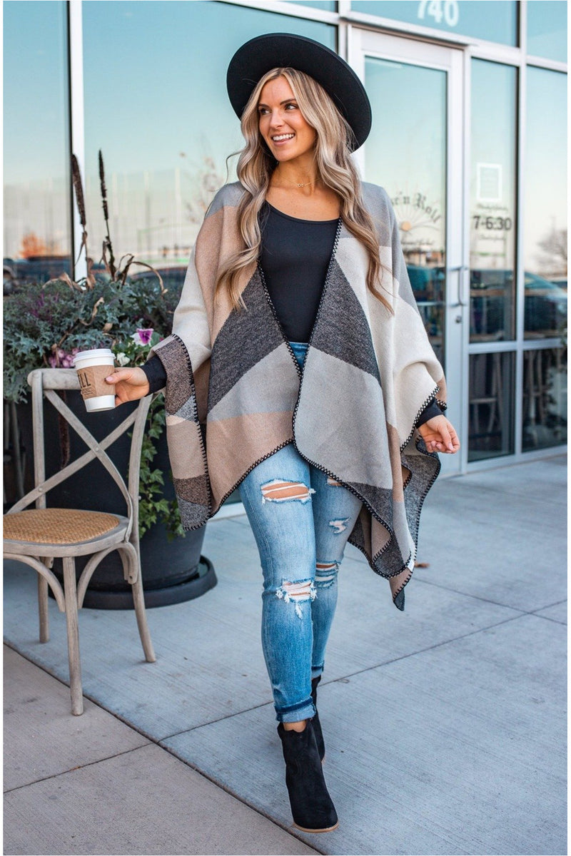 Taupe/Grey Knit Poncho - BluePeppermint Boutique