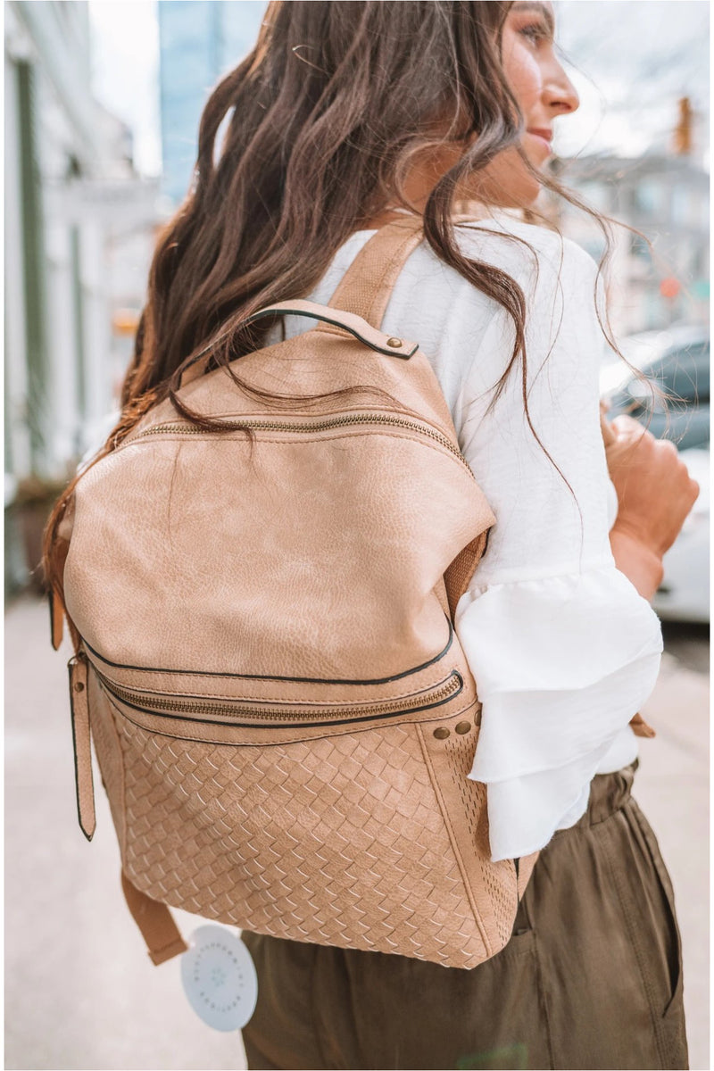 Beige Textured and Studded Backpack - BluePeppermint Boutique