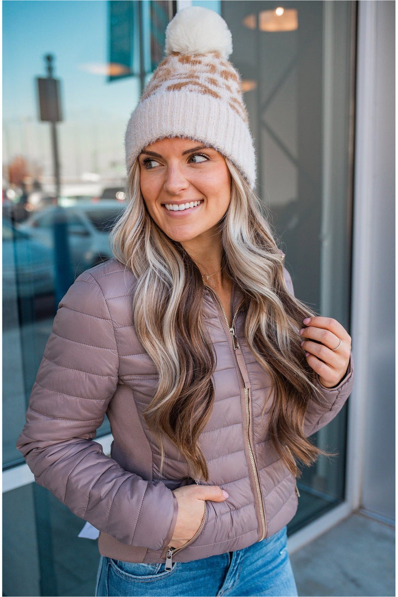 Gold Detail Puffer Coat - Taupe - BluePeppermint Boutique