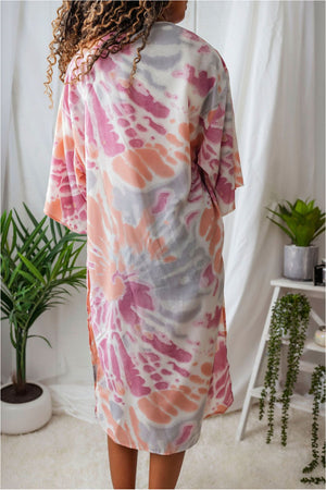 Tie Dye Cover Up-Coral - BluePeppermint Boutique