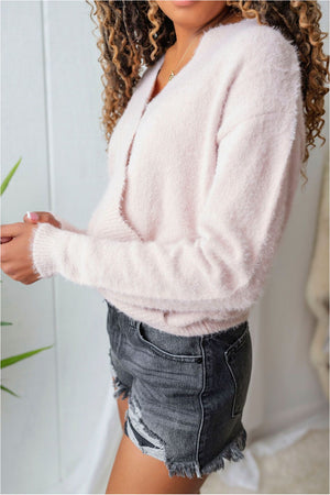 Fuzzy Scalloped Surplice Sweater - Misty Pink- FINAL SALE - BluePeppermint Boutique