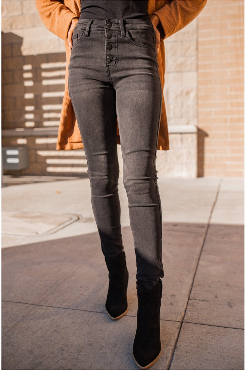 Love Bug Black High Waisted Button Fly Skinny Jeans