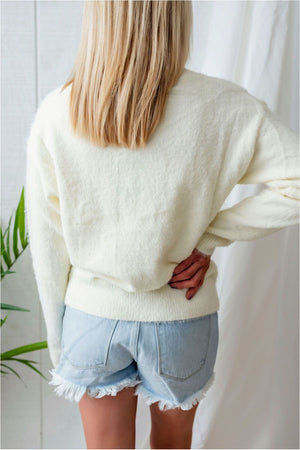 Fuzzy Scalloped Surplice Sweater - Cream- FINAL SALE - BluePeppermint Boutique
