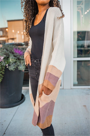 Vanilla Striped Long Cardigan - BluePeppermint Boutique