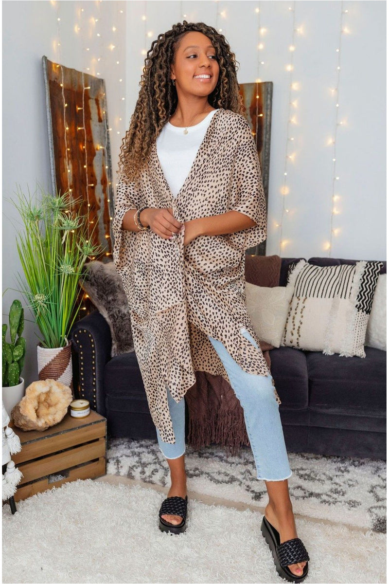 Animal Print Cover Up-Taupe - BluePeppermint Boutique