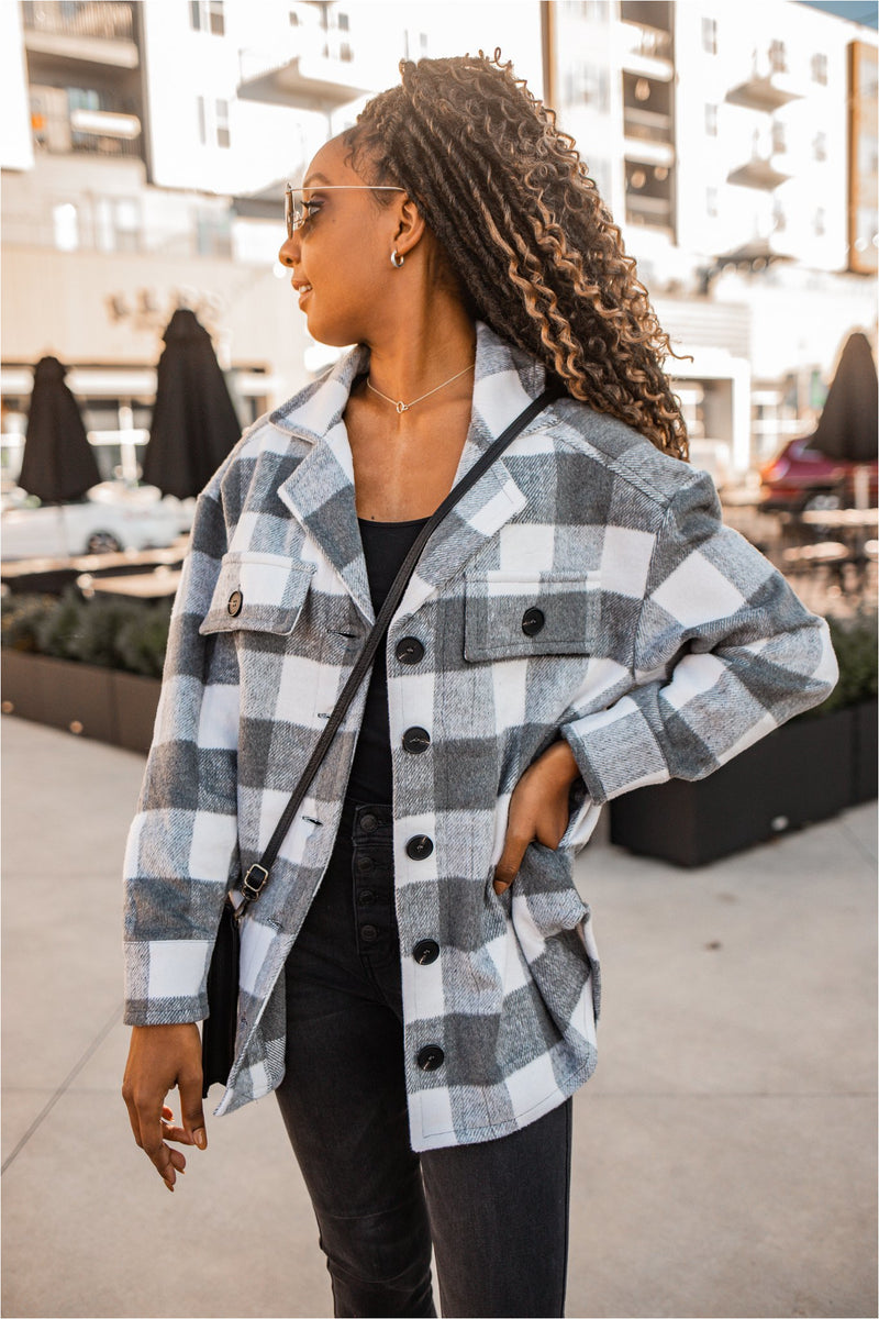 Grey Plaid Shacket