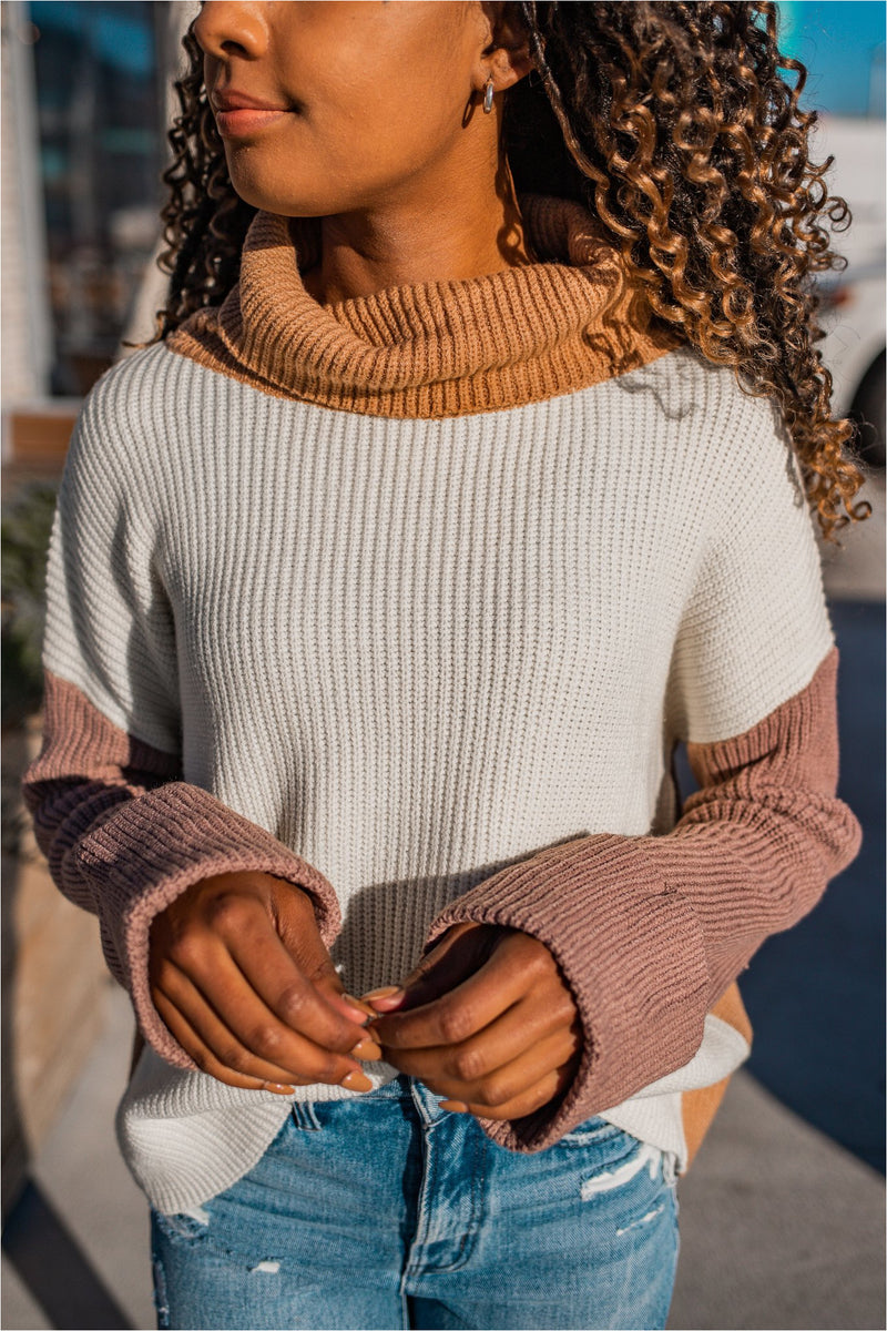 Oatmeal Knit Color Block Turtleneck Pullover