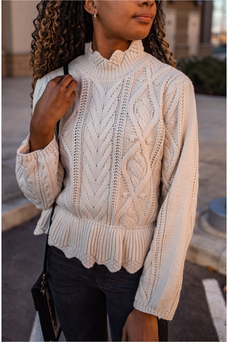 Ivory Scalloped Ruffle Hem Sweater