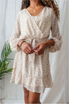 Long Sleeve Floral Spring Dress-Cream - BluePeppermint Boutique