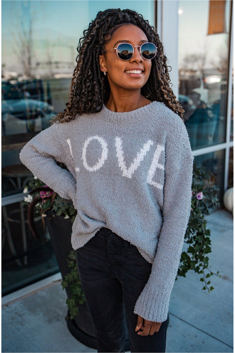 Grey Plush Love Sweater
